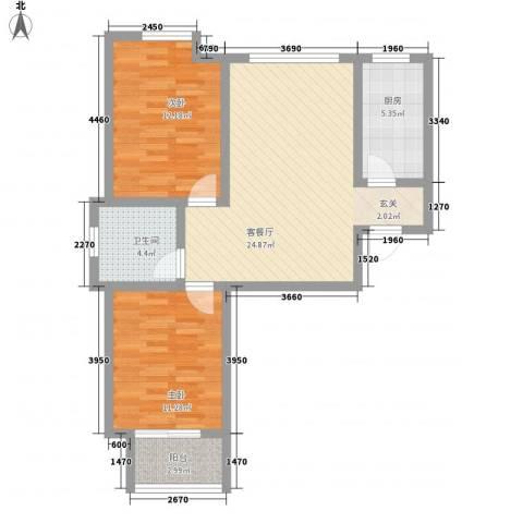 巅峰国际87.00㎡36#楼A户型2室2厅1卫