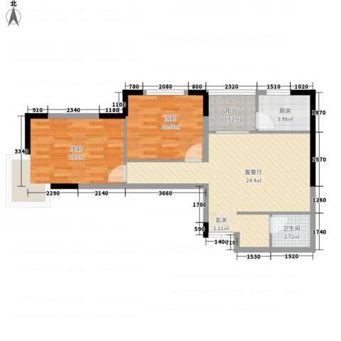 万事达生活广场82.80㎡3#A户型2室1厅1卫1厨