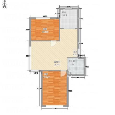华纺・海岸城85.60㎡四期高层小G2-1户型2室2厅1卫