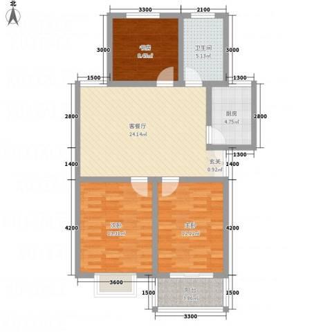 潇河湾1.50㎡N户型3室2厅1卫1厨