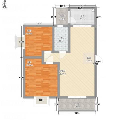 江岸山景85.15㎡B户型2室2厅1卫1厨