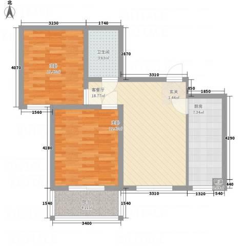吉隆公寓83.40㎡A-户型2室2厅1卫1厨