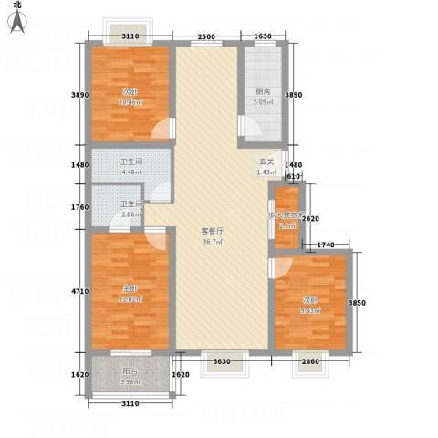 盘龙苑二期126.78㎡05户型3室2厅2卫1厨