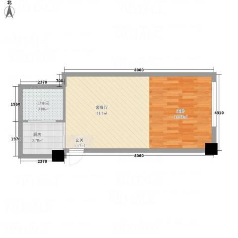 世纪东苑54.30㎡户型1室1卫1厨