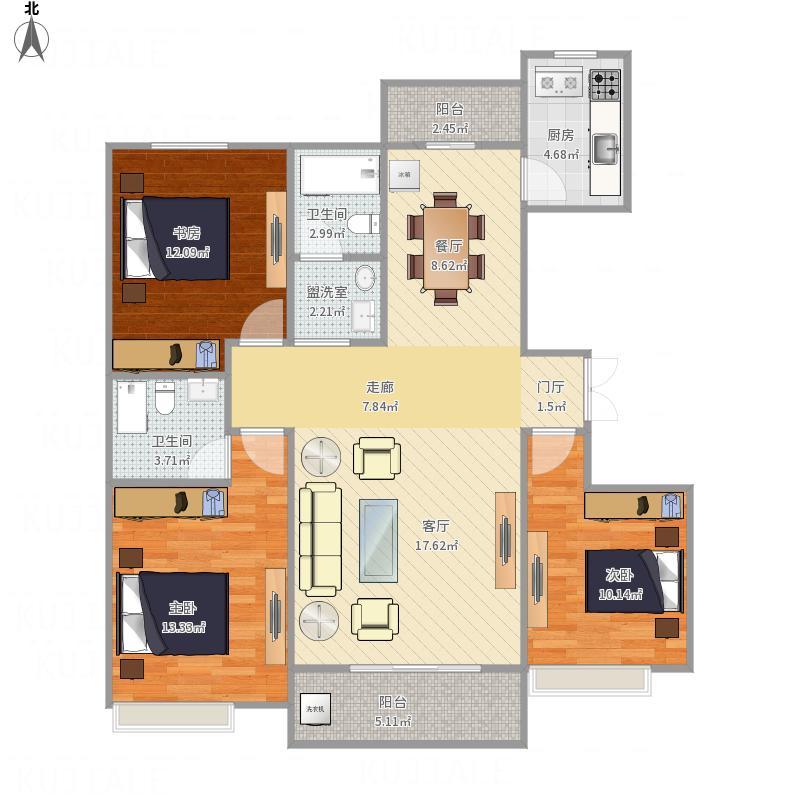 三室两厅一卫户型图风水问题