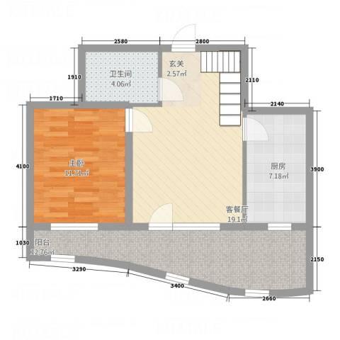 金城丽景湾三期61.11㎡B22层户型2室2厅2卫