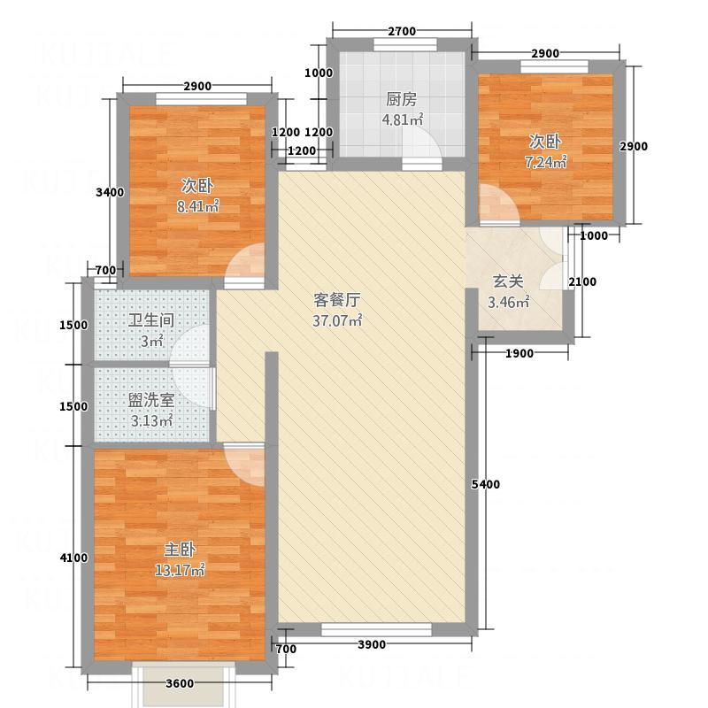 中博孔雀蓝湾16.27�O6,7,9,11#楼b户型3室2厅1卫1厨