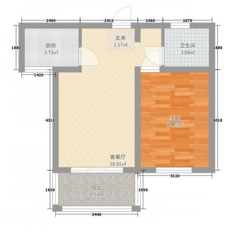 麒麟半岛61.31㎡B户型1室1厅1卫1厨