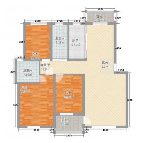 奥克斯天伦城115.80㎡3A户型3室2厅2卫1厨