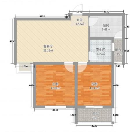 紫东国际12212.20㎡户型2室2厅1卫1厨