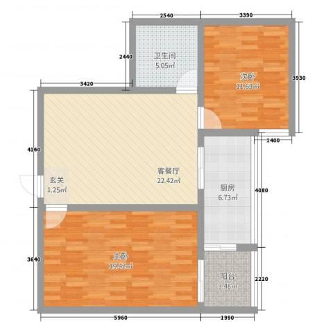 东兴7号7.20㎡7929户型2室2厅1卫1厨