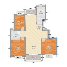 茂源�树公馆123.56㎡H2户型3室2厅1卫