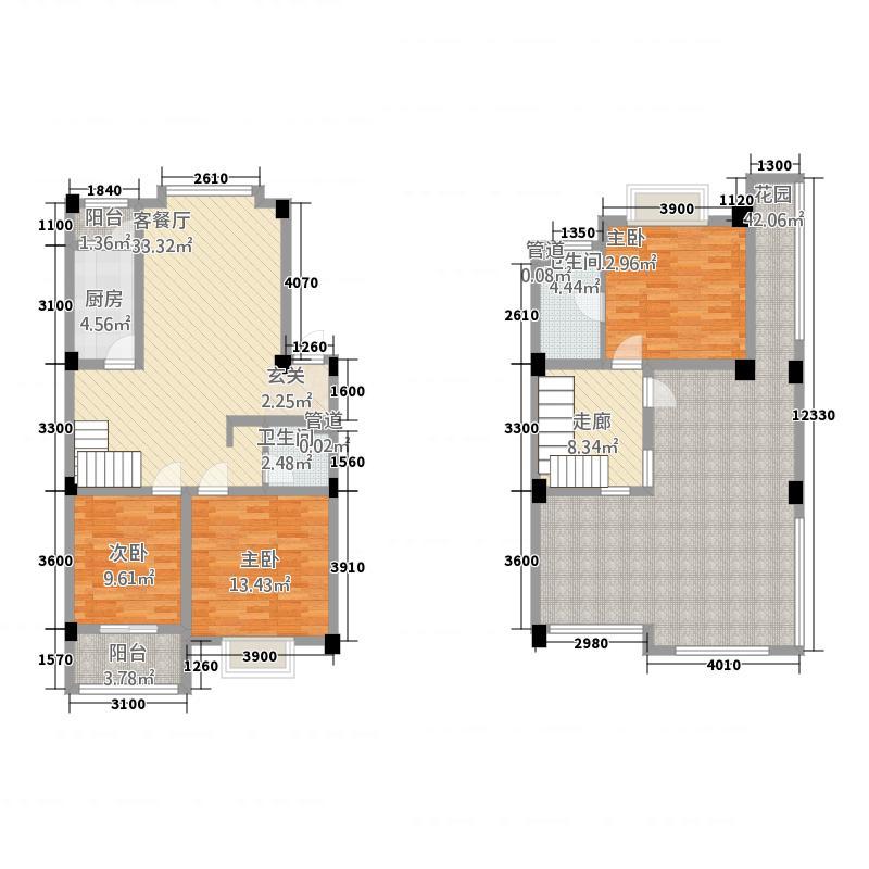双楠风景116.10㎡a1跃户型3室2厅2卫1厨