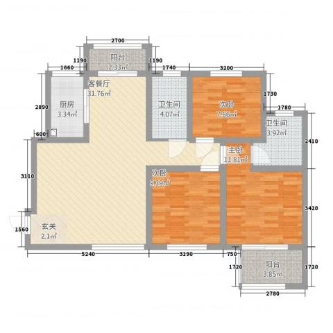 建业桂园115.00㎡B1户型3室2厅2卫1厨