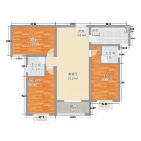 东城府邸132.80㎡13208户型3室2厅2卫1厨