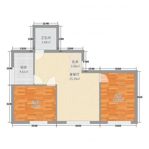 金桥银座81.30㎡E户型2室2厅1卫1厨