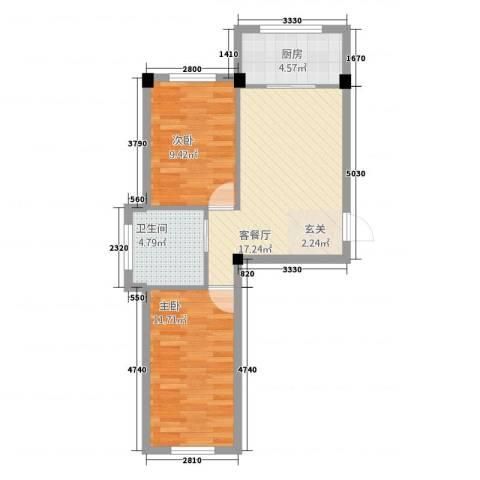 北京公园68.00㎡68户型2室1厅1卫1厨