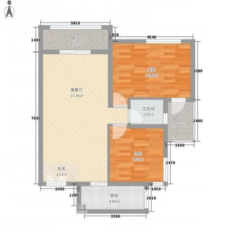 淮安万达广场3.00㎡7#楼D户型2室2厅1卫-副本