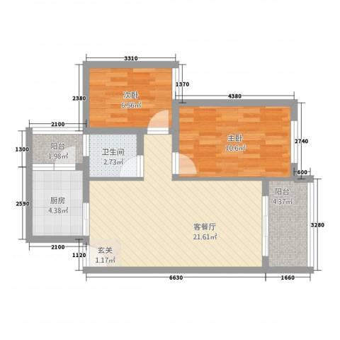 清风雅水76.30㎡1户型2室2厅1卫1厨