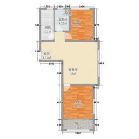 银座广场47.20㎡小高层C-4A户型2室2厅1卫1厨