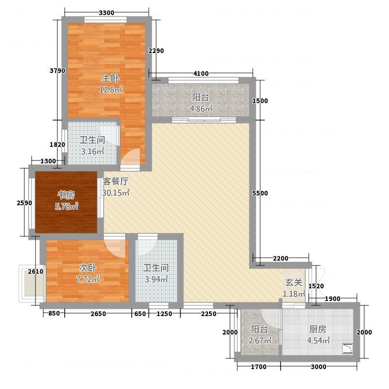 天仙湖莱茵半岛12.12㎡莱茵单页--a户型3室