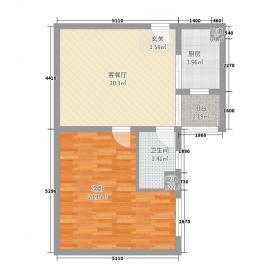 港汇国际领寓72.20㎡J高层户型1室2厅1卫1厨