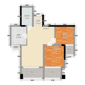 双福兴茂北座72.20㎡一期高层标准层A2户型2室2厅1卫1厨