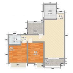 瑞和・北宸阳光72.20㎡户型2室2厅1卫1厨