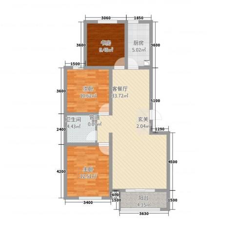 航顺悦澜山15.60㎡E户型3室2厅1卫1厨