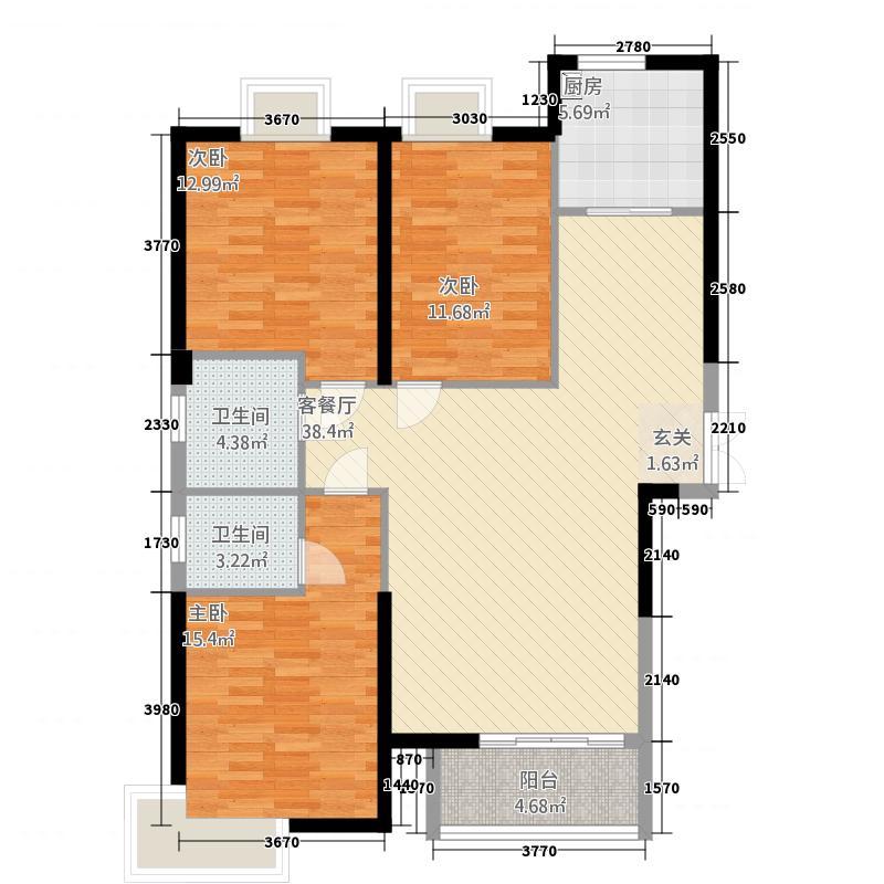 户型设计 水晶岛户型3室2厅2卫1厨  陕西 铜川 水晶岛 套内面积:96.