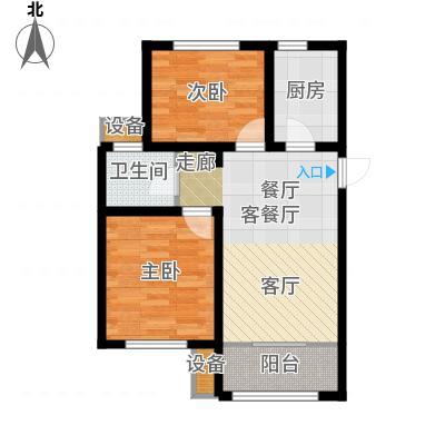 旭辉朗悦湾82.00㎡F户型2室2厅1卫