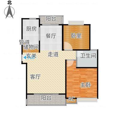 明城玫瑰园90.00㎡房型: 二房; 面积段: 90 -100 平方米;户型