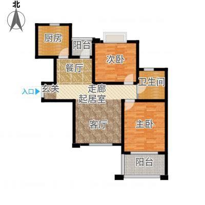 名士豪庭90.00㎡精锐风范家两室两厅一卫户型2室1厅1卫