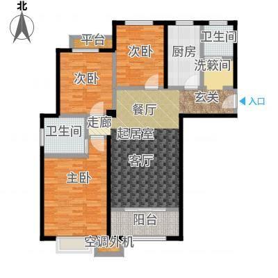 嘉利华府庄园107.00㎡F1户型3室2厅2卫