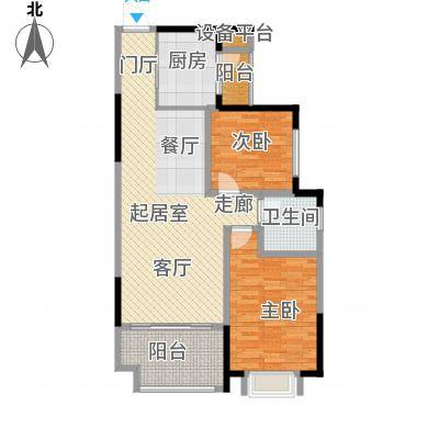 龙光城82.27㎡51栋Cb-6型2房2厅1卫82.27平米户型2室2厅1卫