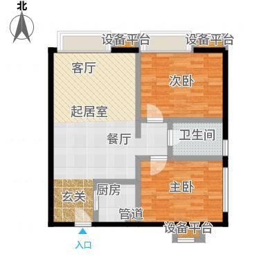 书香园90.82㎡两室两厅一卫户型
