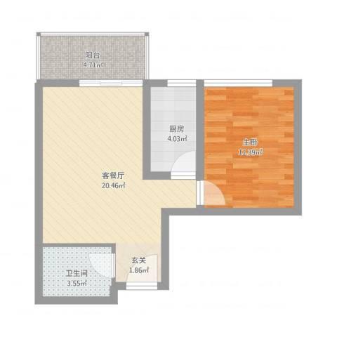 卡斯摩小院33.30㎡B-1户型1室1厅1卫1厨-副本-副本