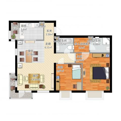 北京随园公寓90.00㎡户型2室2厅2卫1厨-副本-副本
