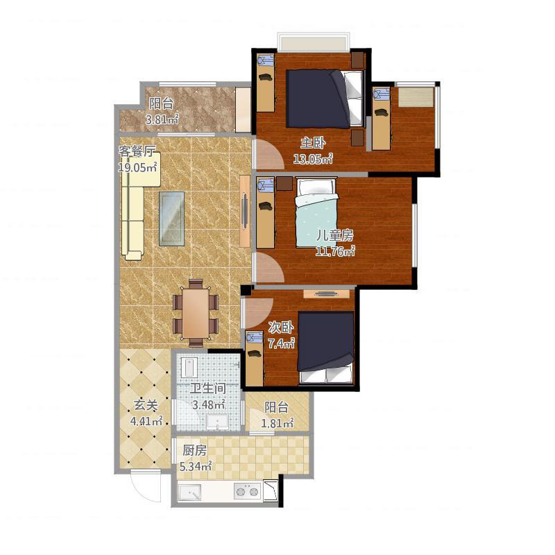 时代悦城时代悦城户型图时代悦城b3户型三室两厅双卫(1/3张)户型3室2