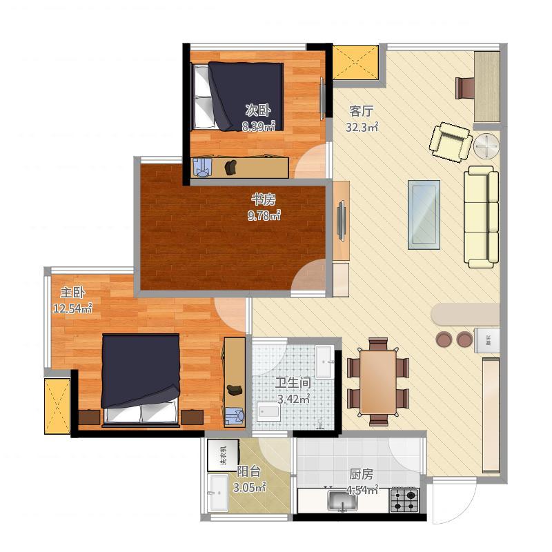 70平米两室一厅一厨一卫设计图展示图片