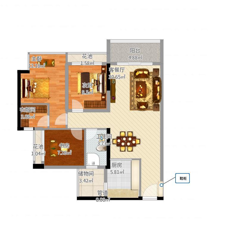 水岸香洲户型图一房两厅两卫户型图 1室2厅2卫1厨-副本...