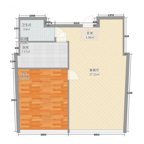 黄山国际假日广场户型1室2厅1卫1厨