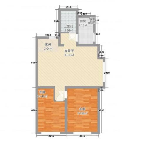 晟宝龙广场82.00㎡13#14#高层K户型2室2厅1卫1厨