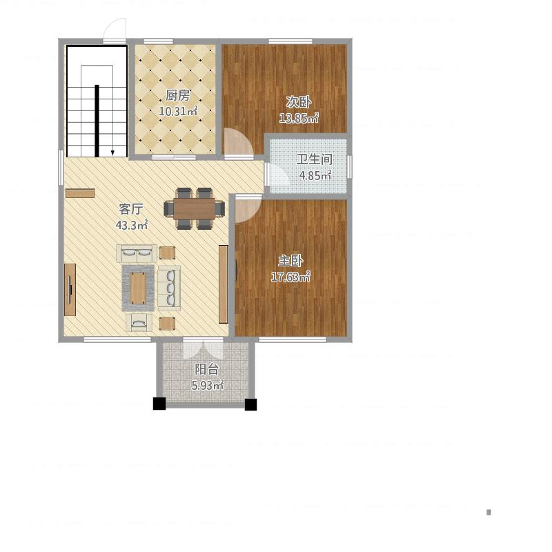 户型设计 一层平面图-副本  浙江 嘉兴 农村自建房 套内面积:95.