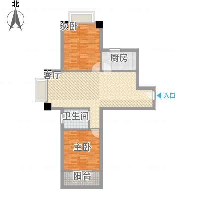 冠城美域A2户型二室二厅一阳台86.29㎡