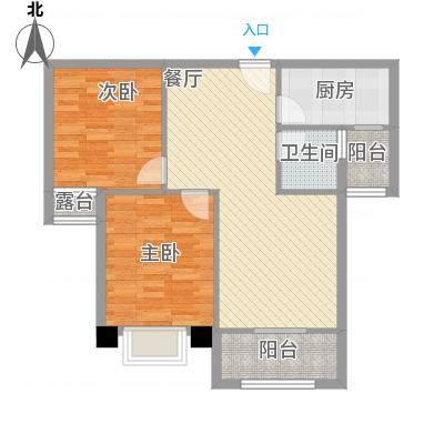 冠城美域A3户型二室二厅二阳台80.62㎡