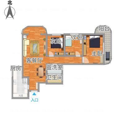 亚运豪庭136.89㎡户型3室2厅1卫1厨-副本-副本