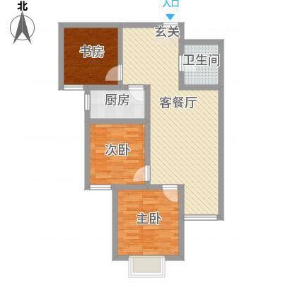 离石文华苑3.20㎡C--户型3室2厅1卫1厨-副本