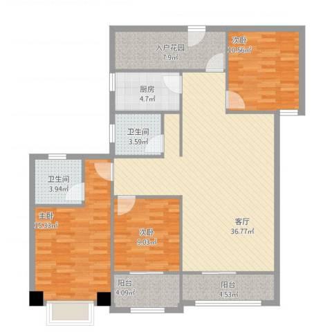冠城美域B1户型三室三厅二阳台123.17㎡