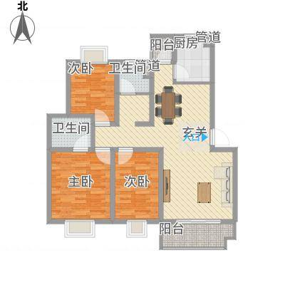 美林湾四和苑114.70㎡一期多层12#楼标准层H户型3室2厅2卫-副本